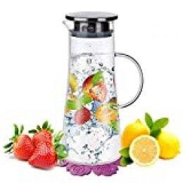 1,5 Litros Agua Jarra,BOQO Botella de cristal y tapa acero inoxidable,jarras de vidrio