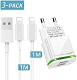 PICILOO Cargador Phone, 3-Pack 1M Cable + Dos Enchufe USB 2.1A 5V Movil Pared Adaptador Replacement for iPhone 11 10 XS/XS MAX/XR/X 8/7/6/6S Plus SE/5S/5C, Pad Air Mini Pro, Pod
