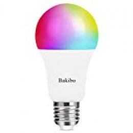 bakibo Bombilla LED Inteligente WiFi Regulable 9W 1000 Lm Lámpara, E27 Multicolor Bombilla Compatible con Alexa, Echo, Google Home e IFTTT, A19 90W Equivalente RGBCW Color Cambio Bombilla, 1 Pcs