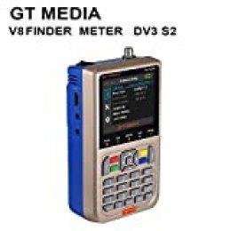 Docooler GTMEDIA Finder Meter TV Señal Finder Meter DVB-S / S2 / S2X HD Medidor digital Pantalla LCD de 3,5 pulgadas Pantalla LCD 3000mAh