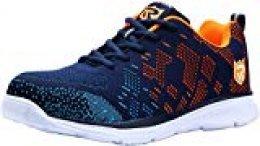 Zapatos de Seguridad con Punta de Acero, Ligeros y Transpirables Zapatos de Entrenamiento prevención de pinchazos LM-112 (47 EU,Azul Naranja)