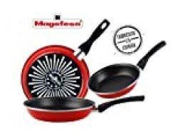 Magefesa Grana Juego de Sartenes  18Ø 20Ø 24Ø de acero esmaltado, con antiadherente bicapa reforzado y color rojo exterior. Apta para todo tipo de cocinas, incluida inducción