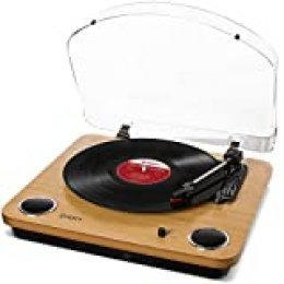 ION Audio Max LP - Tocadiscos de vinilo de 3 Velocidades con Altavoces estéreo, Salidas Auriculares y RCA, Salida USB para Convertir Discos de Vinilo a Archivos Digitales, Acabado en Madera