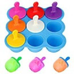 Mini Molde de Silicona para paletas de Helado, 9 cavidades DIY con palitos de plástico Coloridos, moldes para picaduras de Huevo piruleta y Helado contenedor de Almacenamiento de Alimentos para bebés