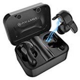 Auriculares Inalámbricos Bluetooth 5.0 con Mini Twins Estéreo In-Ear Deportivos Auriculares Carga Rapida IPX6 Resistente al Agua con Micrófono Dual con Caja de Carga para iPhone y Android(Negro)