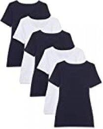 Maglev Essentials Damen T-Shirt Mit Rundem Ausschnitt, 5er-Pack Camiseta, Multicolor Blau/Weiß), 40 (Talla del fabricante: Medium), 5