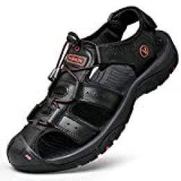 Unitysow Sandalias Hombre Verano Los Zapatillas de Senderismo Transpirable Peso Ligero Cuero Camper Deportivas Sandalias Al Aire Libre Pescador Playa Zapatos,Negro,39