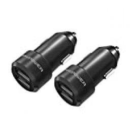 RAVPower – Juego de 2 minicargadores de coche– 2puertos USB 24W/5V 4,8A – iSmart de aleación de aluminio para iPhone 8/X/7/6S/6/Plus, Galaxy S7/S6/Edge/Plus, etc.–Negro