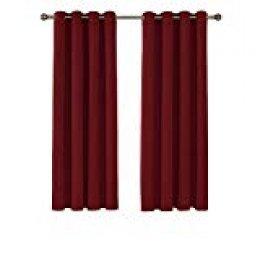 Umi. Essentials - Cortinas Ventanas para Habitación Suave y Elegante Telas Tupidas Gruesas con Ojales 2 Paneles 140 x 290 cm Rojo Oscuro