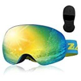 Zacro Gafas de Esquí,Gafas de Snowboard Unisex,OTG 100% UV400 Protección Gafas de Esquí,Doble Esférica Lentes para Esquí, Snowboard, Moto de Nieve,Anti-Niebla y Anti-Nieve,Lente Azul