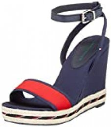 Tommy Hilfiger Sporty Textile High Wedge, Sandalias con Punta Abierta para Mujer