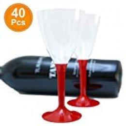 40 x Copas de vino desechable de plástico, 40 unidades | Sin BPA, robusta y con un elegante aspecto de cristal | Tallo rojo