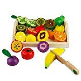 Frutas y verduras juguete para cortar Juguetes para cortar frutas Alimentos madera para cortar Juguetes de cocina madera para niños Juguetes de cocina para niñas El mejor regalo para niños (21 Piezas)