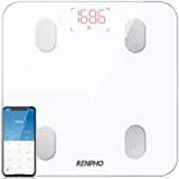 Bascula de Baño Digital Grasa Corporal Inteligente, RENPHO Bascula Bluetooth Analógica Monitores de Composición Corporal para Móviles App, Balanza Electrónica de Alta Precisa con 13 Mediciones, Blanco