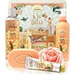 Un Air d'Antan® - JOIE - Caja de productos de belleza, 5 productos: 1 Gel de ducha 250ml, 1 Crema de manos 25ml, 1 Jabón 100g, 1 Loción corporal 200ml, 1 Eau de Toilette 55ml