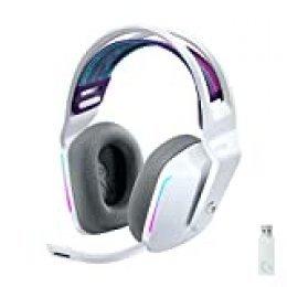 Logitech G Auriculares con Micrófono Inalámbricos Logitech G733 para Gaming con Diadema con Suspensión, Lightspeed, RGB Lightsync, Tecnología de Micrófono Blue VO!CE, Blanco
