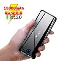 Power Bank PD 3.0, Batería Externa15800mAh con USB C, QC 3.0 & PD 18W Carga Rápida, Cargador Portátil con 3 Salidas y 2 entradas para iPhone 8/8 Plus/X/XS/XR/XS, iPad, Samsung, Huawei y más