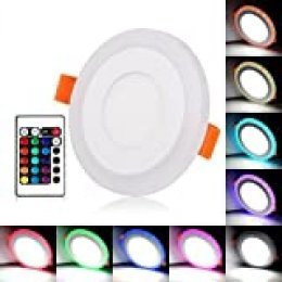 BLOOMWIN Doble color LED empotrable de techo Lámpara Downlights redondo 3 modos de iluminación 6W blanco y RGB