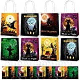 Cooraby - 30 bolsas de papel de estraza para Halloween, con asa para regalos de fiesta de Halloween