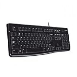 Logitech K120 Teclado con Cable para Windows, Tamaño Normal, Resistante a Líquido, Barra Espaciadora Curvada, PC/Portátil, Disposición QWERTY Español, color Negro