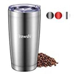 Brewsly Termo Cafe, 6 h Caliente y 12 h Frío, 600ml Botella Termica de Acero Inoxidable, Aislamiento de Vacío de Doble Pared Vaso Termico, Sin BPA, para Café, Té, Plata