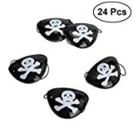 TOYMYTOY 24pcs Máscara de Ojo Pirata, Máscara de Ojo de Halloween Visten atrezzo Gafas Pirata Tricky Traje (Negro)