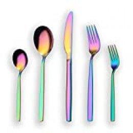Berglander 30 piezas de titanio color del arco iris cubiertos juego de cubiertos, 30 piezas de colores cubiertos juego, Mutil color cubiertos juegos de cubiertos, servicio para 6 (arco iris brillante)