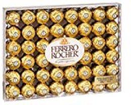 Ferrero Rocher caja de 48 piezas 600 gramos, avellana entera en el corazón, cremoso relleno a base de avellanas, crujiente barquillo recubierto de chocolate y avellanas troceadas ligeramente tostadas.