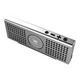 Woxter Big Bass BT-20 - Altavoz con conexión Bluetooth (Batería de litio, potencia 10 W, auxiliar, tarjetas SD, metálico, manos libres) color plata