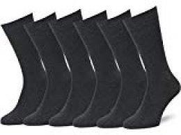 Easton Marlowe 6 PR Calcetines Lisos Negros Hombre, Algodón Peinado - 6pk #3-3, gris carbón - 43-46 talla de calzado UE