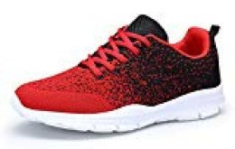 DAFENP Zapatillas Hombres Mujer Deporte Running Zapatos para Gimnasio Sneakers Deportivas Transpirables Casual Unisex 36-46 (37 EU, RojoNegro)
