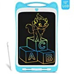 Richgv Almohadilla de Escritura LCD, 12 Pulgadas, Función de Bloqueo, Pizarra de Color, Pizarra de Dibujo Portátil, en Lugar de Papel, Adecuada para Niños y Adultos (Gato,Azul)