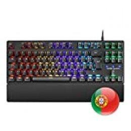 Mars Gaming MKXTKL, teclado mecánico switch rojo, LED 5 colores 10 efectos, PT