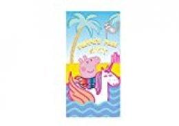 Various Toalla de Playa Infantil con Licencia Oficial Disney (Peppa Pig y Unicornio)