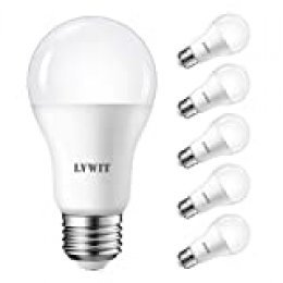 LVWIT Bombillas LED A60, Casquillo E27, 14W equivalente a 100W, 6500K Luz Blanca Fría,1521 lm, Bajo consumo, No regulable - Pack de 6 Unidades.
