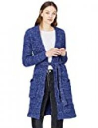 Marca Amazon - find. Chaqueta Larga de Punto Mujer, Azul (Navy/multi), 40, Label: M