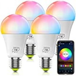Bombilla LED Inteligente WiFi Regulable 7W 600 Lm Lámpara, E27 Multicolor Bombilla Compatible con Alexa, Echo e Google Home, A19 90W Equivalente RGBCW Color Cambio Bombilla(4 Pcs)