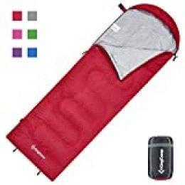 KingCamp Oasis Serie - Saco de Dormir con cabecero (220 x 75 cm), Color Cremallera roja, tamaño Erwachsene 220 x 75 cm