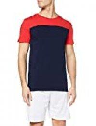Activewear Camiseta Combinada para Hombre, Blau (Navy/Classic Red), Large