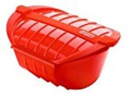 Lékué - Estuche hondo de vapor XL, capacidad de 1000 ml, para 3-4 personas, color rojo