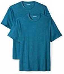 Amazon Essentials 2-Pack Short-Sleeve Crewneck T-Shirt Camiseta, Turquesa (Teal Heather), X-Small