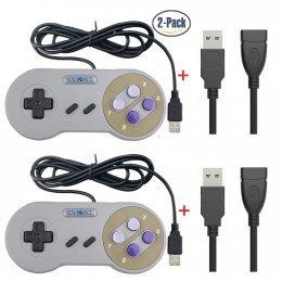 Exlene® Palanca de mando de Gamepad del regulador del juego del USB SNES del USB del paquete de 2 con el cable de extensión del USB 2pc para Windows PC / MAC (Gris)