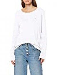 Tommy Jeans Soft Jersey Longsleeve Camiseta de Manga Larga, Blanco (White 100), XX-Small para Mujer