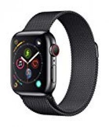 Apple Watch Series 4 (GPS + Cellular) con caja de 40 mm de acero inoxidable y pulsera Milanese Loop, ambas en negro espacial