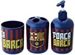 FCB Accesorios de Baño F.C. Barcelona (3 Piezas), Dorado, Talla Unica