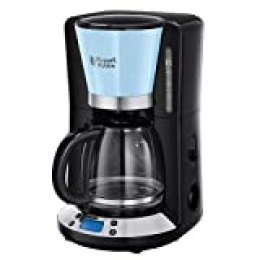 Russell Hobbs Colours Plus 24034-56 - Cafetera, Jarra de Vidrio 1.25 L, Control Digital y Pantalla LCD, Temporizador Programable, 1000 W, Prepara hasta 15 Tazas, Placa Calefactora, Classic Azul