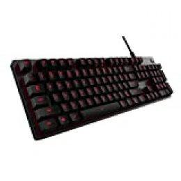 Logitech G413 Teclado Gaming Mecánico, Teclas Retroiluminadas, Teclas Romer-G Táctil, Aleación de Aluminio 5052, Personalizable, Conexión de Paso de USB, QWERTY Español, Teclado gaming G413,Carbón