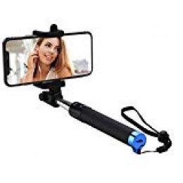 Mpow iSnap Pro X - Palo Selfie Bluetooth Monopod Extensible Remoto Portátil Antideslizante Universal para Selfie con Obturador Integrado y Correa, Color Azul Para IPhone7/IPhone7 Plus
