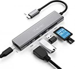 Hub USB C 6 en 1 con 2 Puertos USB iTeknic Puerto HDMI 4K HD, Puerto de reproducción SD y TF y Puerto Tipo C PD 60 W Power Delivery Adaptador Hub USB C Compatible con MacBook Pro, MacBook Air