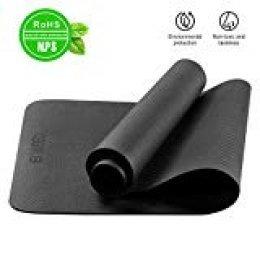 ENKEEO Esterilla Yoga con Correa de Transporte 183 x 80 x 0.6 cm Antideslizante, Espuma EVA Gruesa y de Alta Densidad, Ecológica para Ejercicio Físico, Fitness y Pilates, Color Negro